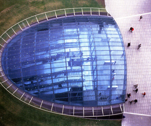 exterior top view of canary wharf station