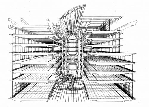 sectional perspective of hsbc structure by norman foster