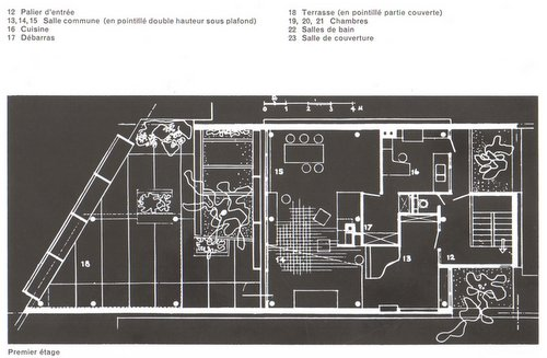 plan of the villa of la plata by Le Corbusier